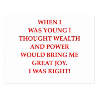 Cartão Postal poder e felicidade da riqueza