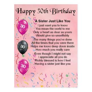Cartão Postal Poema da irmã do aniversário de 30 anos