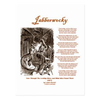Cartão Postal Poema de Jabberwocky por Lewis Carroll