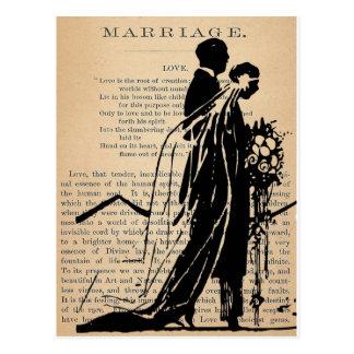 Cartão Postal Poema do casamento pela silhueta do noivo da noiva