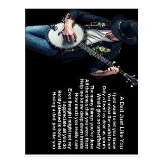 Cartão Postal Poema do pai do jogador do banjo