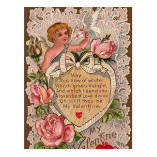 Cartão Postal Poema dos namorados com laço