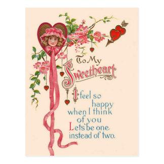 Cartão Postal Poema dos namorados do vintage