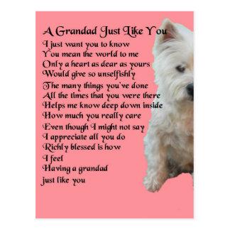 Cartão Postal poema ocidental do Grandad de Terrier das