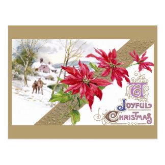 Cartão Postal Poinsétias e natal vintage Shivery da vinheta