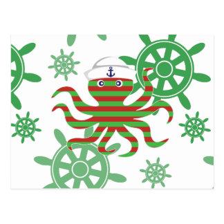 Cartão Postal Polvo do bebê do marinheiro do Natal