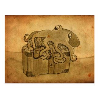 Cartão Postal Polvo e arca do tesouro