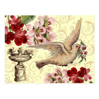 Cartão Postal Pomba & Birdbath do vintage