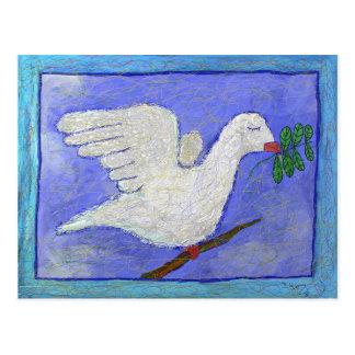 Cartão Postal Pomba com ramo de oliveira