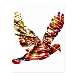 Cartão Postal Pomba do anjo - energia cósmica vermelha Sparkling