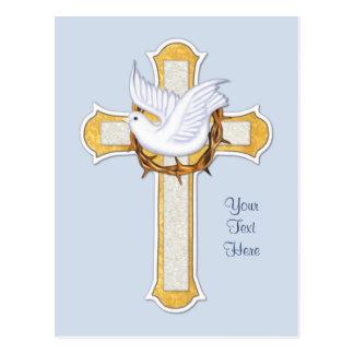 Cartão Postal Pomba e cruz