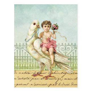 Cartão Postal Pomba e querubim do branco