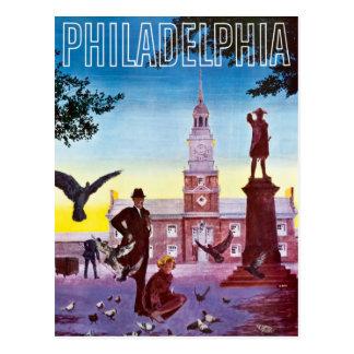 Cartão Postal Pombos do vintage no viagem de Philadelphfia