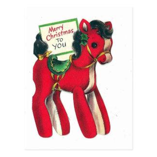 Cartão Postal Pônei vermelho do Natal do vintage