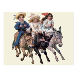 Cartão Postal Pôneis do vintage e crianças bonitos