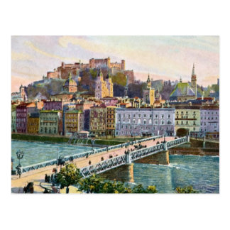 Cartão Postal Ponte 1916 do estado de Salzburg do Aquarelle