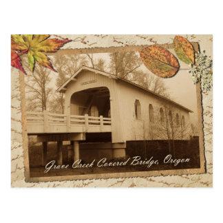 Cartão Postal Ponte coberta da angra grave, vale ensolarado, OU