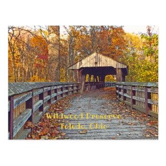 """Cartão Postal """"Ponte coberta na conserva de Wildwood no outono """""""