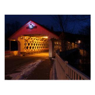 Cartão Postal Ponte coberta Winchester NH de Ashuelot na noite