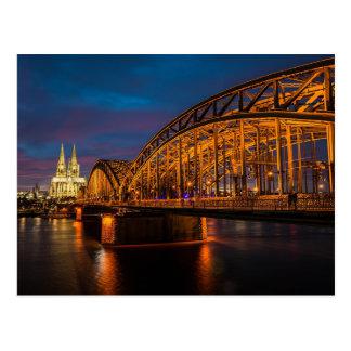 Cartão Postal Ponte de Alemanha Hohenzollern da água de Colônia