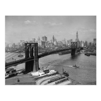 Cartão Postal Ponte de Brooklyn & Manhattan Skyline, 1920