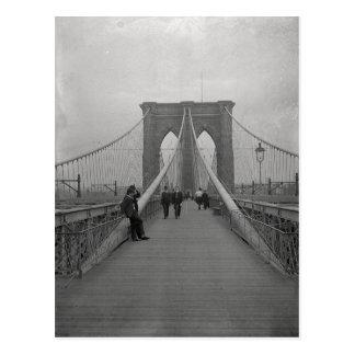Cartão Postal Ponte de Brooklyn preto e branco do Victorian do