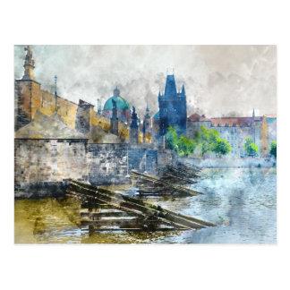 Cartão Postal Ponte de Charles na república checa de Praga