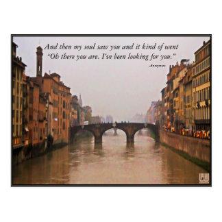 Cartão Postal Ponte de Florença com citações do amor