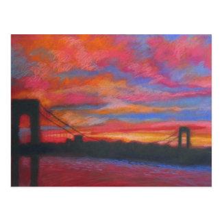 Cartão Postal Ponte de George Washington no por do sol