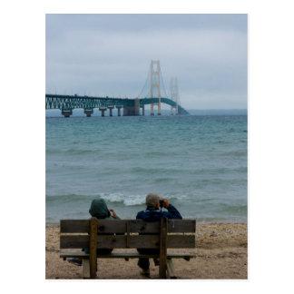 Cartão Postal Ponte de Mackinac da visão