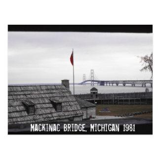 Cartão Postal Ponte de Mackinac Michilimackinac colonial