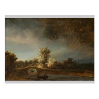 Cartão Postal Ponte de pedra de Rembrandt