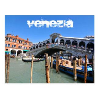 Cartão Postal Ponte de Rialto em Veneza, Italia