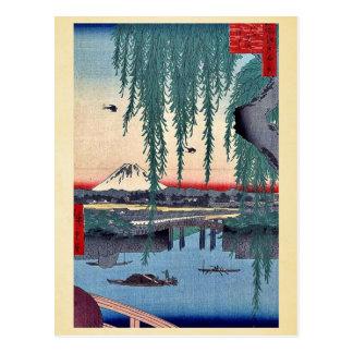 Cartão Postal Ponte de Yatsumi por Andō, Hiroshige Ukiyo-e.