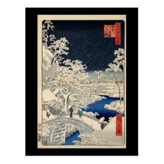Cartão Postal Ponte do cilindro de Hiroshige em Meguro