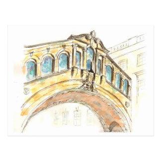 Cartão Postal Ponte do desenho do watercolour dos suspiros