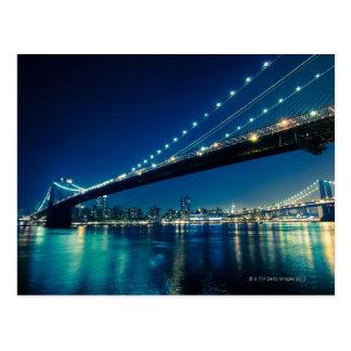 Cartão Postal Ponte e Lower Manhattan de Brooklyn na noite