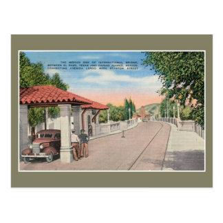 Cartão Postal Ponte internacional do vintage e costumes El Paso