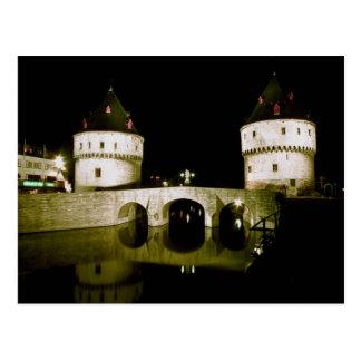Cartão Postal Ponte na noite, Bélgica de Kortrijk