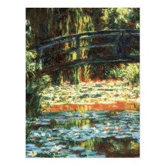 Cartão Postal Ponte sobre a lagoa de Waterlily por Claude Monet