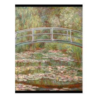 Cartão Postal Ponte sobre uma lagoa de lírios de água