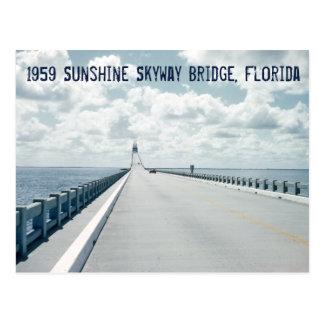 Cartão Postal Ponte St Petersburg Florida 1959 de Skyway da luz