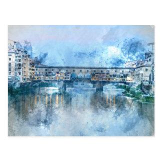 Cartão Postal Ponte Vecchio no River Arno em Florença, Italia