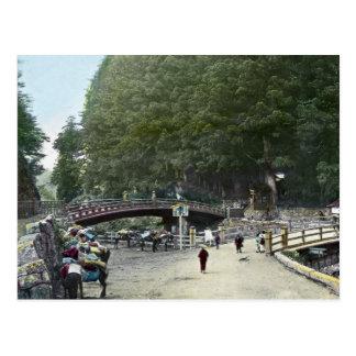 Cartão Postal Ponte vermelha Tokyo Japão do vintage