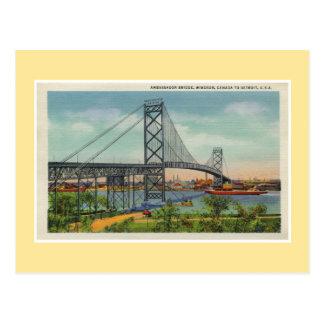 Cartão Postal Ponte Windsor Canadá do embaixador de Detroit do