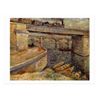 Cartão Postal Pontes através de Seine em Asnières, Vincent van