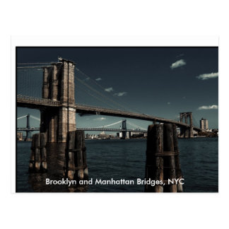 Cartão Postal Pontes de Brooklyn & de Manhattan, Brooklyn e