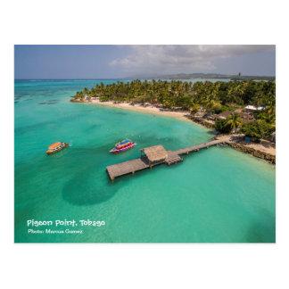 Cartão Postal Ponto Tobago do pombo com os barcos de parte
