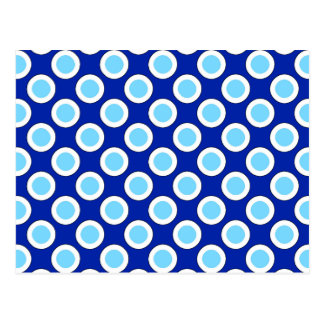 Cartão Postal Pontos circundados retros, azuis cobaltos e branco