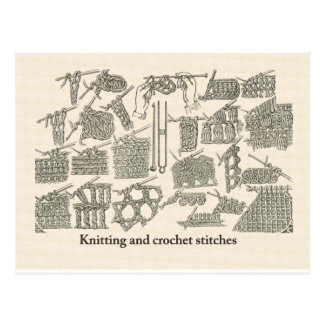 Cartão Postal Pontos da confecção de malhas e de crochet